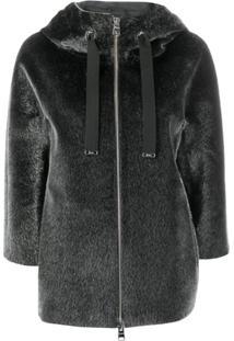Herno Textured Hooded Jacket - Cinza