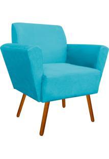 Poltrona Decorativa Dora Suede Azul Tiffany - D'Rossi