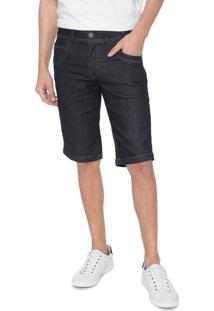 Bermuda Jeans Zune Reta Pespontos Azul-Marinho