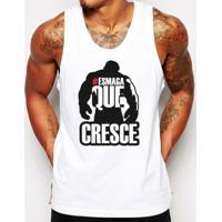 Camiseta Regata Criativa Urbana Frases Esmaga Que Cresce Academia -  Masculino-Branco aea81bcde92