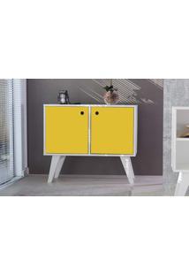 Armário Buffet Para Sala 02 Portas Amarelo Cristal 90X38,5X73 Cm