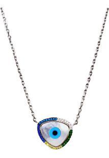 Colar Pingente Charme De Olho Grego Colorido Madre Pérola Em Prata 925