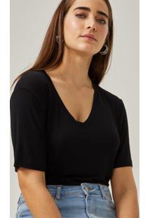 Amaro Feminino T-Shirt Decote V Viscose, Preto