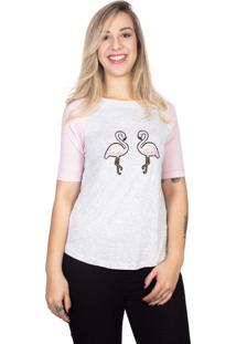 Camiseta 4 Ás Mesclada Clara E Rosa Raglan Flamingos