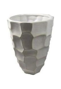 Vaso 30X16,5Cm De Cerâmica Branco - Gs Ashley