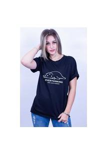 Camiseta Bilhan Corte A Fio Overthinking Gde Preta