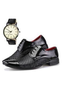 Sapato Social Dhl Calçados Neway Artesanal Preto + Relógio
