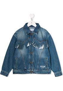 Msgm Kids Fringed Denim Jacket - Azul