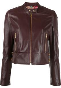 Dolce & Gabbana Cropped Leather Biker Jacket - Vermelho