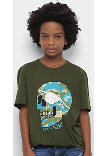 Camiseta Infantil Colcci Fun Caveira Camuflada Masculina - Masculino-Verde