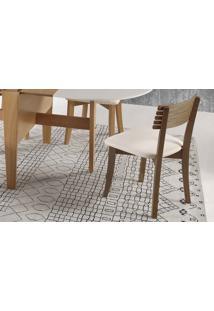 Cadeira Cozinha Estofada Boni Ripada - Verniz Capuccino - Tec.156B Off White - 42X49X82 Cm