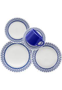 Aparelho De Jantar E Chá Oxford Cerâmica Donna Grecia 20 Pçs Branco/Azul