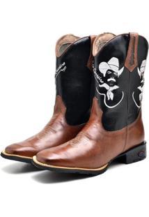 Bota Fak Boots Country Bico Quadrado Masculina - Masculino-Marrom