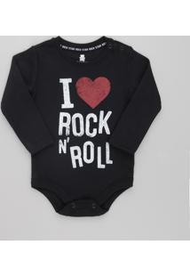 "Body Infantil ""I Love Rock N' Roll"" Manga Longa Decote Redondo Preto"