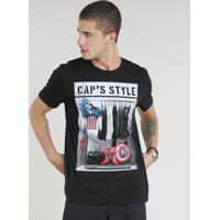 05b5f62559 CEA. Camiseta Masculina Capitão América Manga Curta Gola Careca Preta