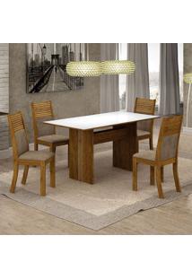 Conjunto De Mesa De Jantar Florença Iii Com 4 Cadeiras Havaí Suede Branco E Cappuccino