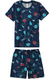 Pijama Azul Escuro Estampado