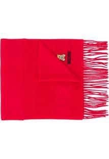 Moschino Cachecol Com Logo Bordado E Franjas - Vermelho