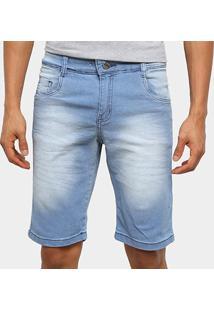 Bermuda Jeans Ecxo Básica Estonada Masculina - Masculino