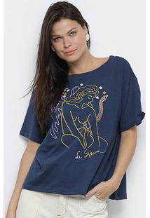 Camiseta Cantão Estampada Feminina - Feminino-Marinho