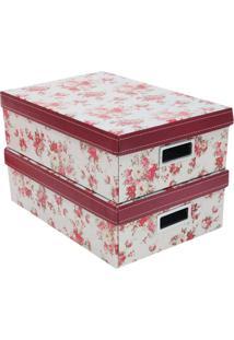 Jogo De Caixas Organizadora Retangular M Floral- Bege & Boxmania