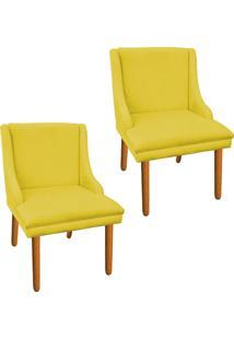 Kit 02 Cadeira Poltrona Decorativa Liz Suede Amarelo - D'Rossi