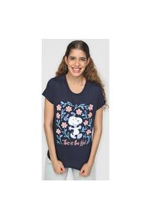 Camiseta Snoopy By Fiveblu Tal Mãe Tal Filha Floral Azul-Marinho
