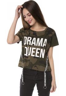 Camiseta T-Shirt Camuflada Drama Queen Faixa Nice Pop Me Verde