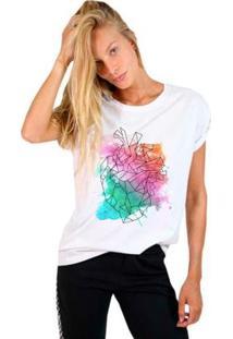 Camiseta Joss Estampada Watercolor Heart Feminina - Feminino-Branco