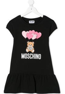 Moschino Kids Vestido Com Estampa De Logo - Preto