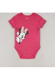 Body Infantil Minnie Manga Curta Rosa Escuro