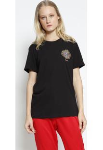 Camiseta Com Bordado - Preta & Amarela - Colccicolcci