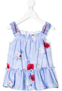 Lapin House Vestido Evasê Floral - Azul