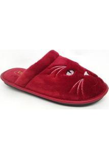 Pantufa De Lã Leffa Feminina - Feminino-Vermelho