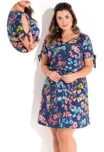 Vestido Floral Azul Amarração Plus Size Quintess