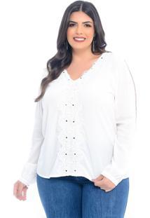 Blusa Plus Size Bordado Manifesto Guipir E Entremeio Off-White