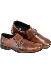 Sapato Social Infantil Leoppé Verniz Costura Cabedal - Masculino-Marrom