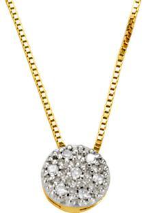 Gargantilha Em Ouro Pendulo Lentilha Com Zircônias - Gg18014