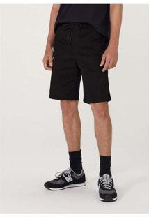 Bermuda Masculina Slim Em Sarja Com Elastano Preto