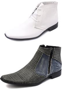 Kit 2 Pares Bota Botina Social Solado Costurado Pisaforte Branco E Jeans