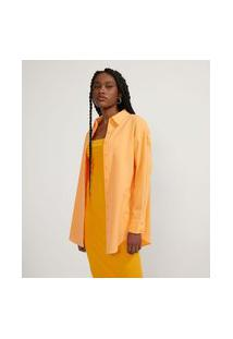 Camisa Alongada Em Tricoline Sem Estampa   Blue Steel   Primarycolor12   P