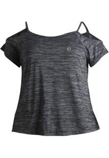 Camiseta Plus Size Way Shoulder Feminina - Feminino-Cinza