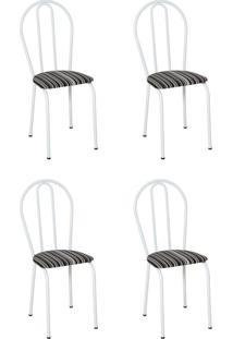 Conjunto 4 Cadeiras Hécate Branco E Preto Listrado