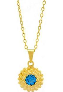 Gargantilha Horus Import Ponto Luz Flor Banhada Ouro 18K Feminino - Feminino-Dourado