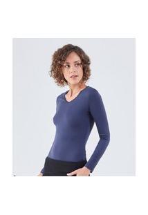 Camiseta Liz Easywear Manga Longa Azul Marinho