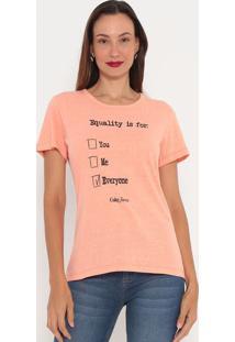 "Camiseta ""Equality Is For""- Laranja Claro & Preta- Ccoca-Cola"