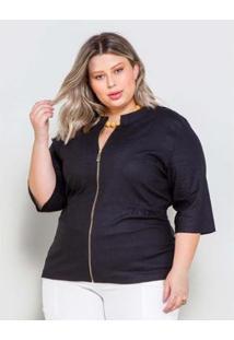 Jaqueta Plus Size Palank Linho Feminina - Feminino