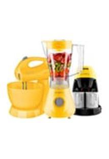 Kit Cadence Colors Amarelo - Liquidificador - Batedeira - Cafeteira