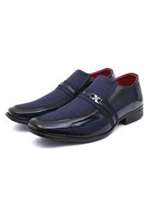 Sapato Social Leve Renovally Azul Marinho