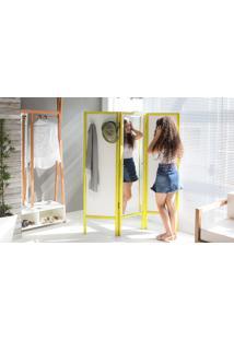 Biombo Com Espelho Em Mdf E Madeira Cabideiro Divisor De Ambientes Ammy Branco Com Amarelo 138X165 Cm